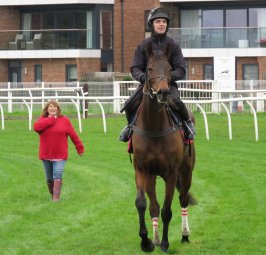 Sarah Bradstock & Coneygree with David Bass up - after schooling