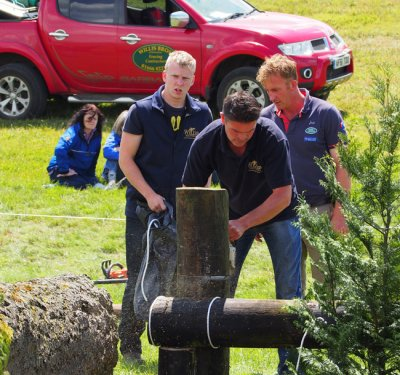 Willis Brothers team repairing an obstacle at Barbury Castler Horse Trials 2014