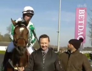 "Redicean returns after his Kempton win - Wayne Hutchinson told ITV Racing's Rishi Persad Redicean had been ""Breathtaking"".  Groom Valentino Kovalenko won a £2K bonus from the race sponsors (Photo ITV Racing via Twitter)"