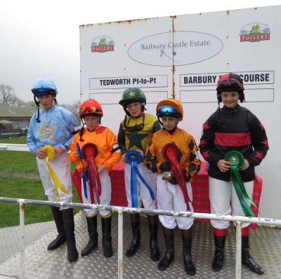 The pony race jocks - l to r: William Curtis, Ashley Lewis, Ollie Proctor, Jack Dace & Molly Burton