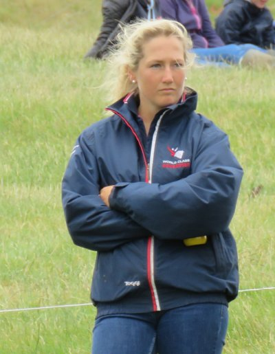 Laura Collett walking the course at Barbury (July 2015)