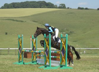 ...and over an obstacle from the showjumping phase - all in the same arena
