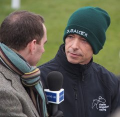 Phil Clark being interviewed by a Racing UK colleague