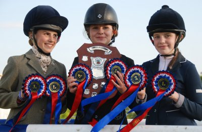 Rosettes galore - (l to r): Georgia King, Lily Jump, Holly Stephens