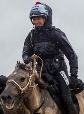 Clare King riding in the Mongol Derby (2013)