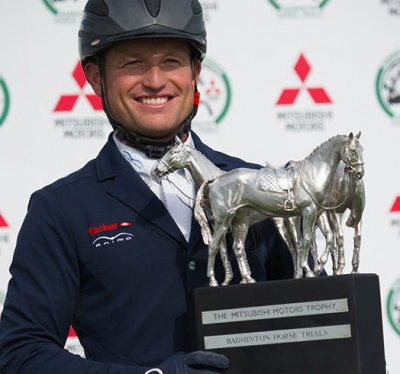 Michael Jung with the Mitsubishi Motors Trophy (photo courtesy: Badminton Horse Trials)