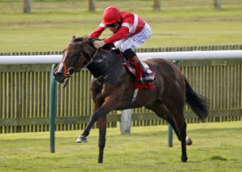 Tiggy Wiggy - with Richard Hughes - wins the Cheveley Park Stakes (September 2014) (photograph by Steven Cargill)