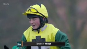 After the race:  Bryony Frost talking to ITV Racing's Oli Bell