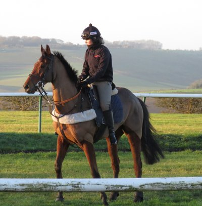 Brodie Hampson with Mandy's Boy at Lambourn