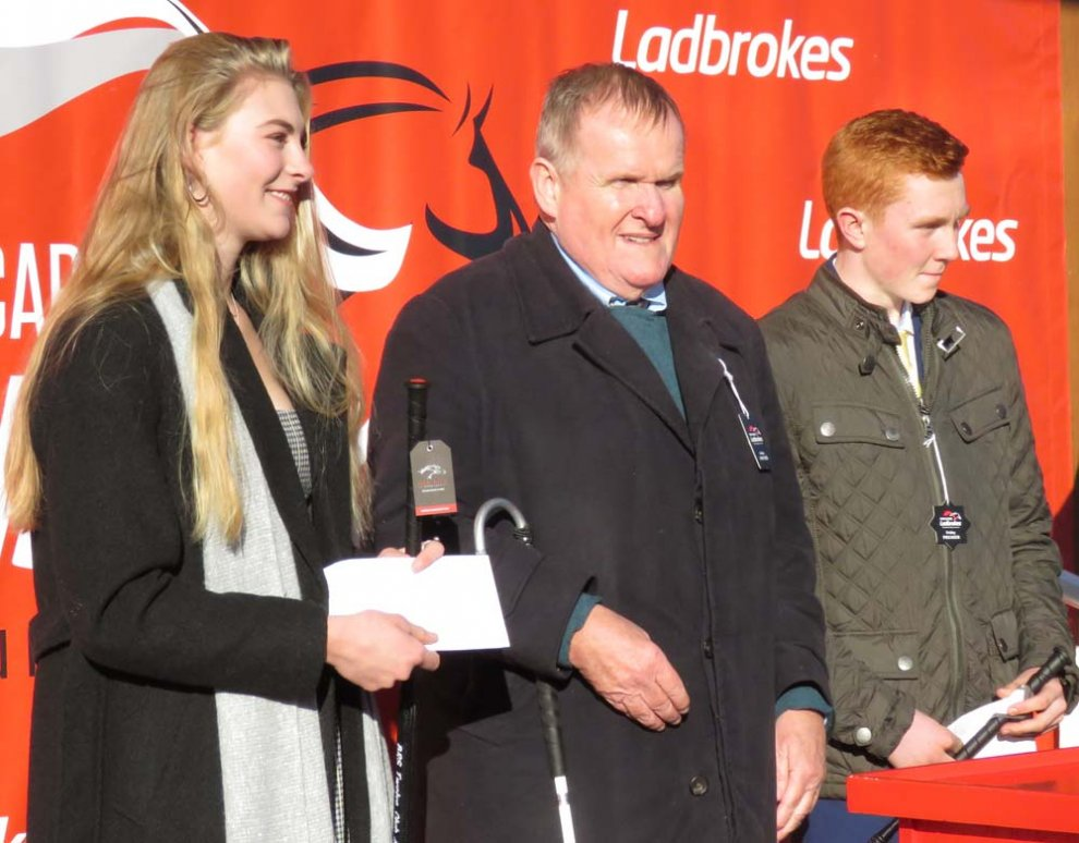 Andrew Gemmell with Racing School winners Megan Lyth & Murray Dodd