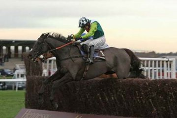 Denman jumping the last on the way to winning his second Hennessy Gold Cup in 2009 under Ruby Walsh