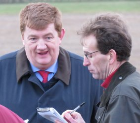 Jake Exelby interviewing winning trainer Shark Hanlon