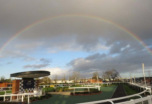 Newbury's parade ring during a race: at the end of some rainbow there is some drier weather & better ground!