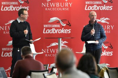 Richard Hoiles (left) & Luke Harvey addressing the audience in Newbury's Owners Club (Photo courtesy Newbury Racecourse)