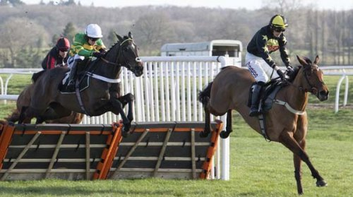 Chantry House & Barry Geraghty (left) challenging Manvers House for the lead (Photo: Newbury Racecourse)