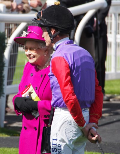 The Queen with jockey Richard Hughes