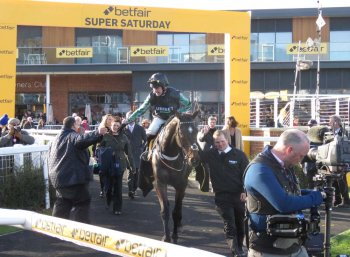 Altior - with Nico de Boinville - gets a great welcome back after his win