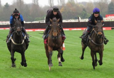 Coneygree centre - Flintham right - & left a juvenile called Daisy - gallop up Newbury's straight