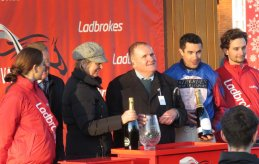 Trainer, owner & jockey receive their prizes