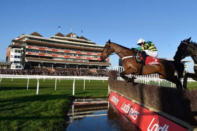 Champ - with Barry Geraghty aboard - takes the water jump
