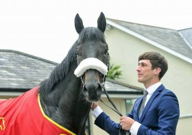 Dean Sinott with Dermot Weld-trained Harzand (winner of Epsom & Irish Derbys - now at stud)(photo from Facebook)