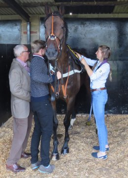 Andy helping saddle up Killimordaly at Worcester in September 2015 - his last season with a trainer's licence - Sally Randell who took over his yard is on the right