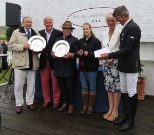 The Barlows (who own Avebury) holding trophies - either side of David Bellamy (of St James's Place Wealth Management) with Penny Bunter and Nicholson on the right