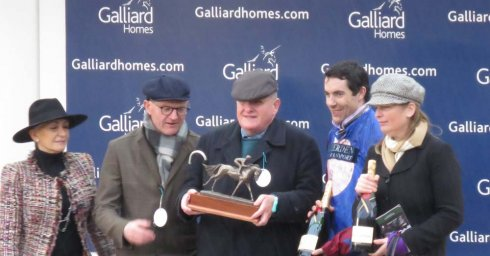 Representatives of Galliard Homes & (l to r) Andrew Gemmell, Aidan Coleman & Emma Lavelle