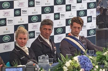 The Burghley top three: Jonelle Price, Andrew Nicholson & Christopher Burton (Photo from Burghley twitter feed)