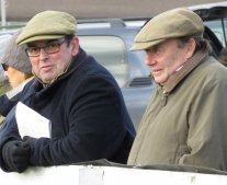 Barbury trainer Alan King with Nicky Henderson