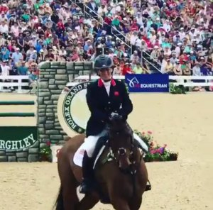 Zara Tindall at the end of her clear round in the Rolex Kentucky show jumping