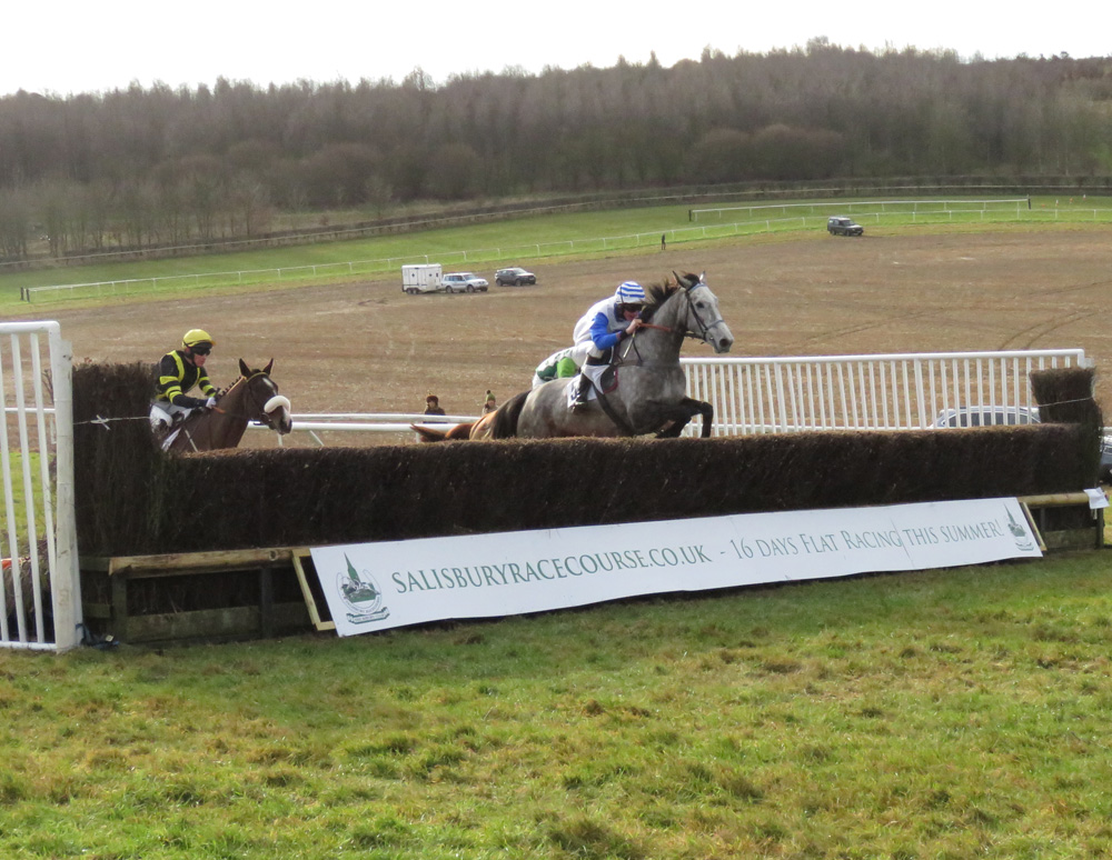 5-year-old mare CHELTENHAM MATI under Zac Baker on her way to win the second race by six lengths