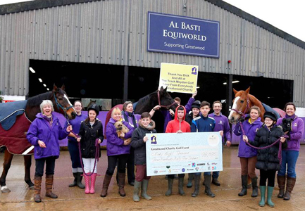 The 'cheque' comes home to Greatwood.  The horses are (left to right): Montendre, Potentate and Seek the Faith