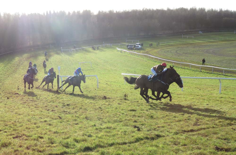 Winter sun: The Dellercheckout (nearest camera) edges ahead coming into the home straight