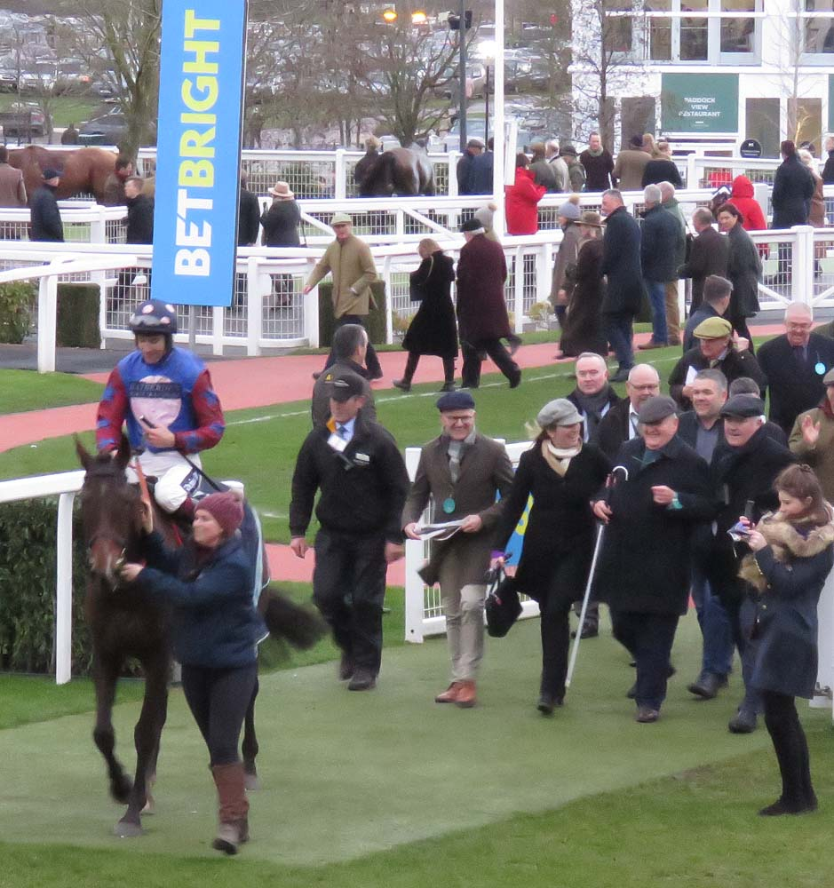Paisley Park & Aidan Coleman enter the winner's enclosure - behind them Emma Lavelle & Andrew Gemmell
