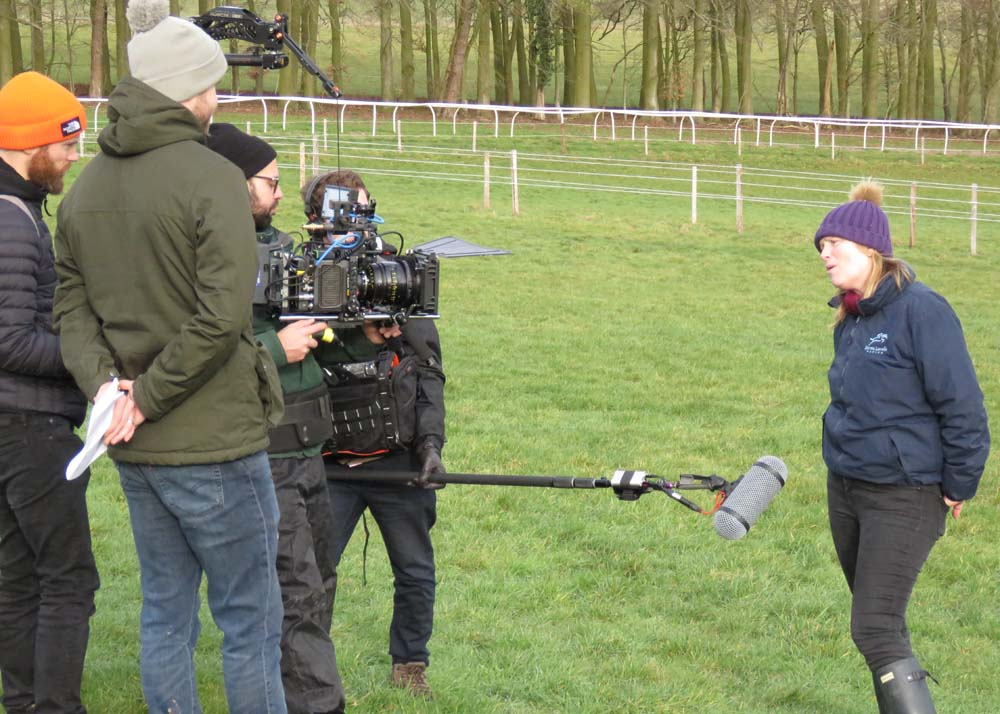 Emma Lavelle by the all weather gallop with the bet365 camera crew