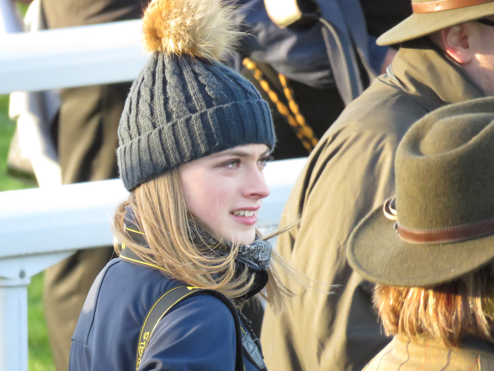 Francesca Altoft - on a pretty chilly day at Newbury Racecourse