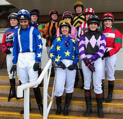 Riders in the Bloor Homes Supporting Greatwood Charity Race: Lisa Kozak, Sheikh Fahad Al Thani, David Dennis, Simon Cross, Hannah Bishop, Georgie Norton (winner), Richard Marks, Steph Cameron, Sarah Milsom & Polly-Anna Greco
