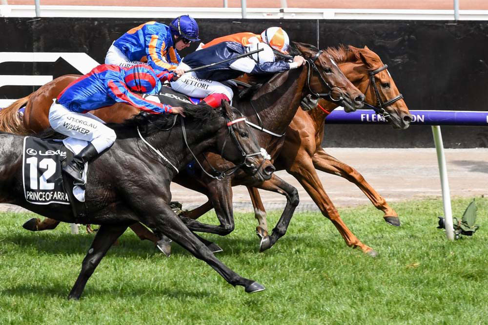 Melbourne Cup: Vow and Declare (orange quartered cap) wins over Master of Reality (white cap) - with Il Paradiso (blue cap) & British trained Prince of Arran (blue/red cap) (Photo Courtesy Racing Photos
