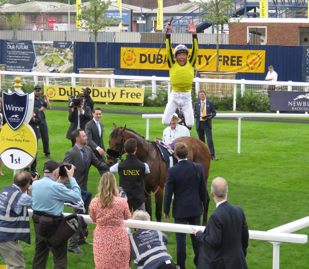 Frankie Dettori celebrates his win on James Garfield