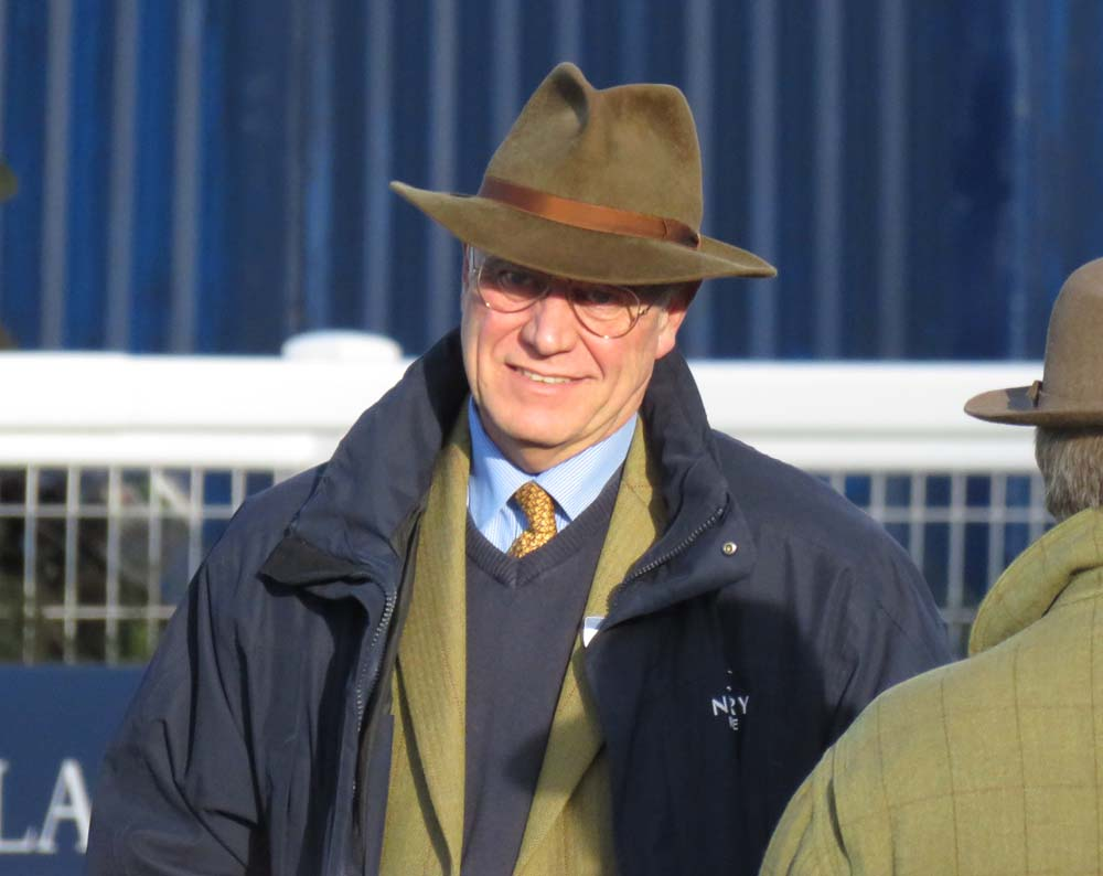 The trademark trilby: Richard Osgood on duty at Newbury's pre-Christmas meeting - 19 December 2018