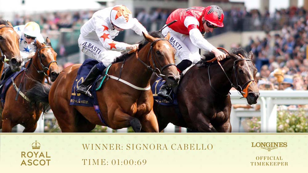 Oisin Murphy wins on Signora Cabello by a short-head in the opening race of the Wednesday of Royal Ascot 2018 (Photo from Twitter)