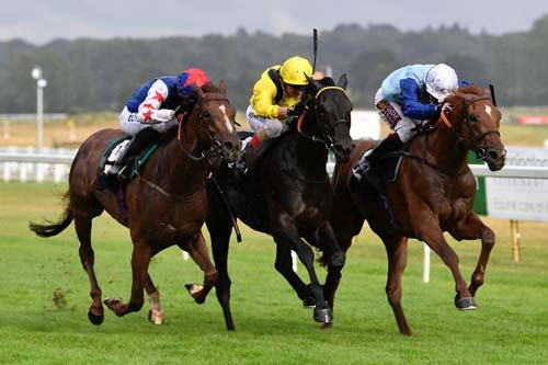 Ritchie Valens (right) coming through to win from Fantastic Blue (left)