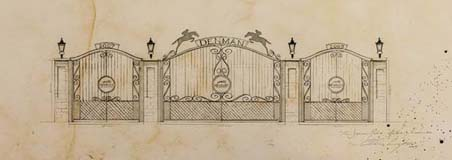 The Denman Gates: Artist impression of the set of wrought iron gates at the North Entrance at Newbury Racecourse