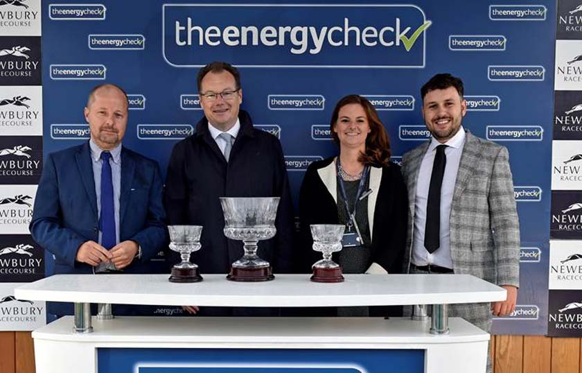 Right to left: Liam Adams (The Energy Check), Lara Johnston (Newbury's Sponsorship Manager), Julian Thick (CEO, Newbury Racecourse), Ian Sinclair (The Energy Check)