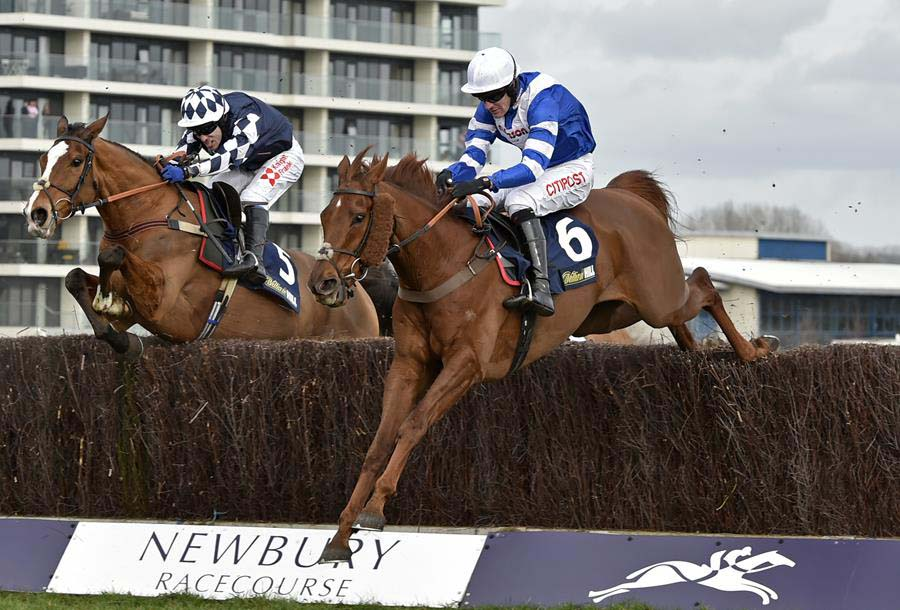 San Benedeto (right) wins the 2019 William Hill Supporting Greatwood Gold Cup (Photo: Newbury Racecourse)