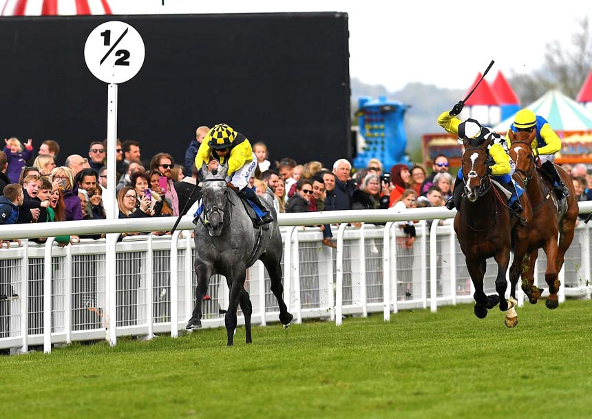 The grey Gumball under Silvestre De Sousa on his way to victory in the Byerley Stud 'City Bowl' Handicap (Photo: Denis Murphy - official photographer)