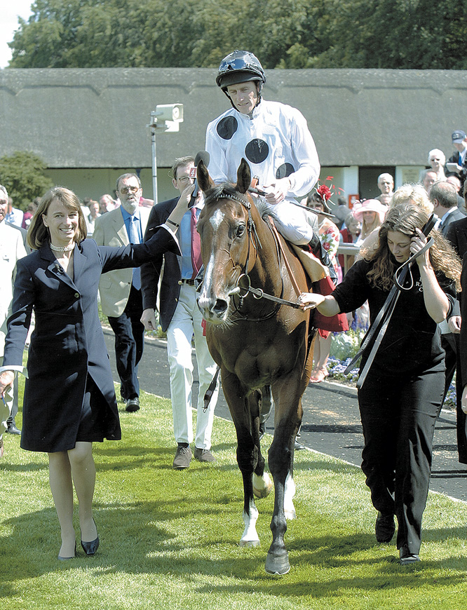 Soviet Song after winning at Newmarket under Johnny Murtagh - in the famous Elite silks