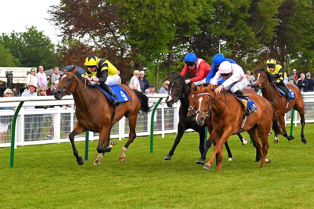 Motivate Me ridden by Jack Mitchell leads the way home for Roger Varian in the first division of the Smith & Williamson Novice  (Photo: Denis Murphy - official photographer)